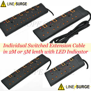 SURGE PROTECTED SWITCHED EXTENSION LEAD CABLE 5M METER METRE 3 4 5 6 WAY - BLACK