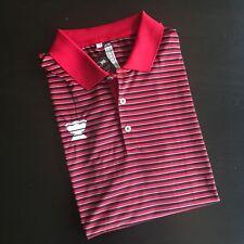 NWT Adidas ADI Tournament Striped Polo Shirt Mens L Red Black Futbol Soccer Polo