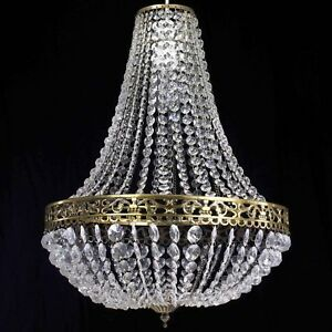 New Large Moroccan K9 Crystals Brass Chandelier Easy Fit Pendant Light Shade