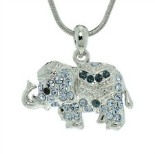 "Luck Necklace Pendant 18"" Chain Elephant W Swarovski Crystal Blue Good"