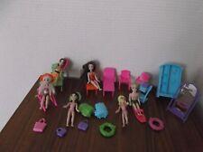 Polly Pocket lot  6 Poupées  & accessoires +  sacs et mobilier