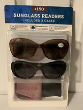 Eyewear LTD 2 Pack Womens Invisible Seam Bifocal Sunglasses Readers +1.50 Br/Bl