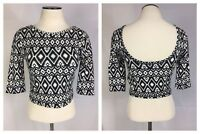 Forever21 Womens Sz Small Shirt Scoop Neck Mid Sleeve Crop Top Stretchy Blouse