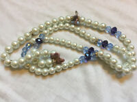 VINTAGE Heavy Faux Pearl Necklace with Blue Glass Beads Cermic Flowers #9