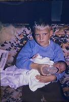 Vintage Photo Slide 1967 Big Brother Feeding Baby