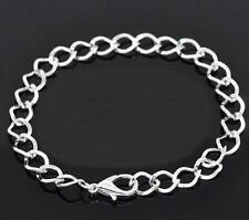 1 Silver Plated Links Charm Bracelet Lobster Clasp Chain Bracelets 7-1/4""