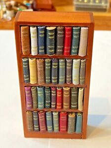 SMALL BOOK CASE FULL OF BOOKS FOR A 1/12 OR 1/24 SCALE DOLLS HOUSE