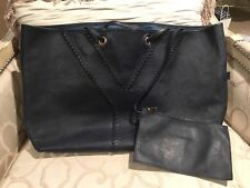 Yves Saint-Laurent YSL Neo Reversible Calfskin Leather Tote And Pouch Navy $1495