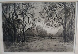 WINTER EVENING ORIGINAL ETCHING BY HENRY FARRER 1883 MATTED