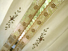 Beautiful Pair Hand Crochet Lace Flower Embroidery Cotton Curtain L Tiebacks CL