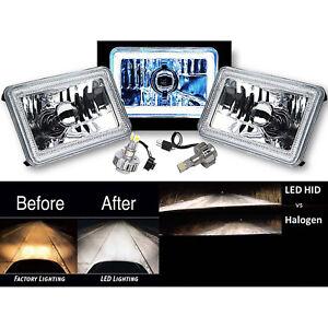 "4X6"" White COB Halo Glass/Metal Headlight 6000K LED Light Bulb Headlamp Pair"