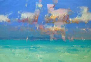 Caribbean Sky,  Original Oil painting, Handmade artwork, One of a kind