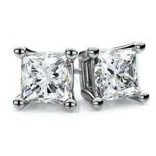 jem: WOW! CLEAR 7MM PRINCESS CUT DIAMOND STUD EARRINGS in FINE SILVER