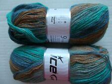 Ice Yarns Angora Print yarn, turquoise/blue/brown/sage , lot of 2, (582 yds ea)