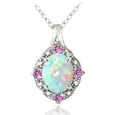 925 Created Opal & Pink Sapphire Diamond Accent Oval Necklace