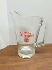 Vintage Old Milwaukee Beer Heavy Glass Bar Pub Pitcher
