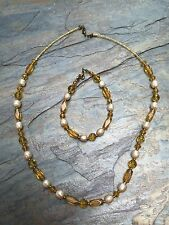 Beads and Vintage Ivory Glass Pearls Necklace and Bracelet Set of Yellow Glass