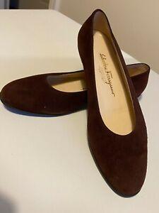 Ladies Salvatore Ferragamo Brown Suede Low Heel Pumps Size UK 5