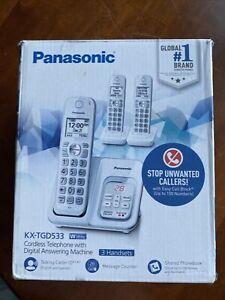 Panasonic KX-TGD533 Expandable Cordless Phone - White, 3 Handsets
