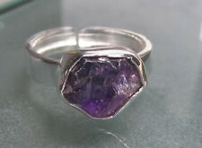 Sterling silver rough amethyst stone ring UK R-R¼/US 8.75-9. Gift Bag.