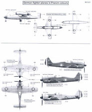 Berna Decals 1/32 GERMAN FIGHTER PLANES IN POST-WAR FRENCH MARKINGS