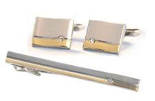 SET Manschettenknöpfe Krawattennadel 6,7 bicolor + Kristallsteine KLS015 +B