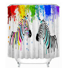 Shower Curtain Colour zebra 3D Style Print Bathroom Waterproof Decor With hooks