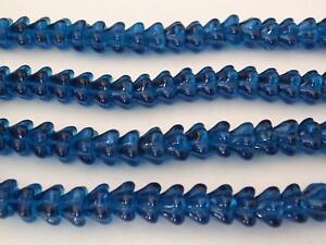 25 8 mm Czech Glass Bell Flower Beads: Capri Blue