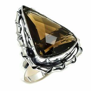 Smokey Topaz Gemstone Handmade Ethnic 925 Silver Ring Size 7.5