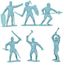Marx Recast 70mm Knights - 12 figures in 6 poses - sky blue unpainted plastic