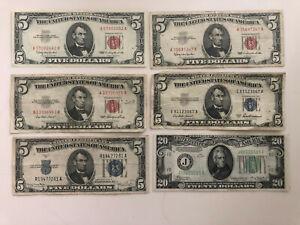 6 United States Bills 1934 - $20, 1934, 1953, - $5 (2) 1963 - $5
