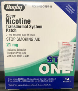 Rugby Clear Nicotine Patch Step One-21 mg (28 patches) Exp. 03-09/2022