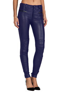 BLK DNM WOMENS LEATHER MOTO PANTS 6 SIZE 27 NAVY PURPLE NEW PUNK EMO $1095