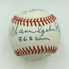 Warren Spahn Early Wynn Perry Niekro Carlton 300 Win Club Signed Baseball PSA