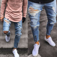 Men's Skinny Jeans Ripped Pants Slim Stretch Denim Frayed Biker Trousers Blue