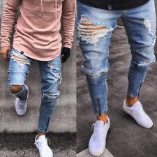 Uomo Strappati Skinny Biker Jeans Destroyed Registrato Jeans Aderente Pantaloni