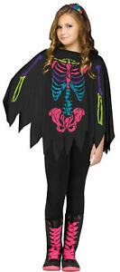 GIRLS COLORFUL SKELETON PONCHO CAPE COSTUME ACCESSORY FW90395C