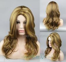 Sex Woman's Long Brown Blonde MIxed Wave Cosplay Wig Synthetic Full Hair Wigs