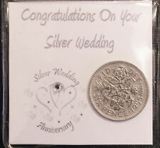 LUCKY SIXPENCE COIN KEEPSAKE GIFT FOR SILVER WEDDING ANNIVERSARY COUPLE