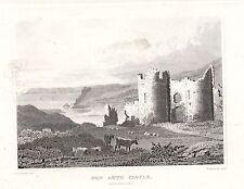 1840 VICTORIAN PRINT ~ PEN ARTH CASTLE ~ GLAMORGANSHIRE WALES