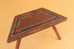 Antique Vintage Wood Child's Chair Stool Seat Bench Old Painted Early 20th 1930s