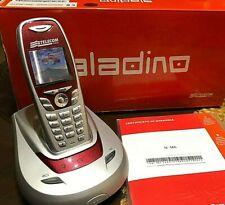 TELEFONO CORDLESS ALADINO TELECOM ARGENTO ROSSO GARANZIA NUOVO+BATTERIE NUOVE