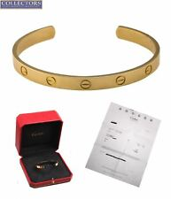 MINT Ladies Cartier Size 18 18K 750 Yellow Gold LOVE Cuff Bangle Bracelet w/ Box