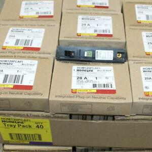 One Square D HOM120PCAFI 1P 20A Homeline Arc Fault AFI Plug On Neutral Breaker