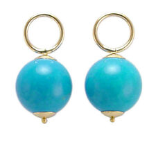 14k Yellow Gold Baby Blue Simulate Turquoise Charms 12mm