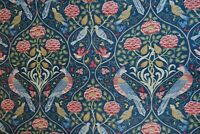 "WILLIAM MORRIS CURTAIN FABRIC ""Seasons of May"" 2.6 METRES INDIGO LINEN BLEND"