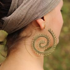 Giant Spiral Tribal Circle Earrings in Brass