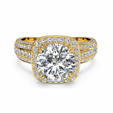 14kt Yellow Gold Size 9 8 7 1.55 Ct Moissanite Round Cut Diamond Engagement Ring