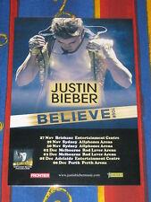 JUSTIN BIEBER - 2013 BELIEVE AUSTRALIAN TOUR - LAMINATED PROMO TOUR POSTER - NEW