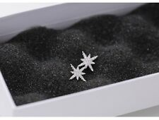 925 Sterling silver cute white snow flake frozen stud earrings Gift box party AJ